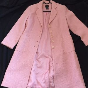 INC Tweed Long Spring Coat Sz 6 Pink Trench Style